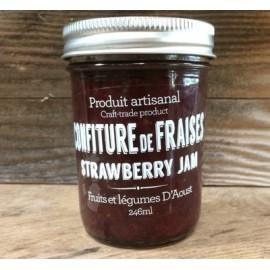 Confiture artisanale de fraises et rhubarbe